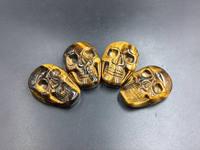 Tiger Eye Skull Cabochon Hand Carved Tiger Stone Skull Cabochon 25x35mm Gemstone Cabochon Flat Back Skull