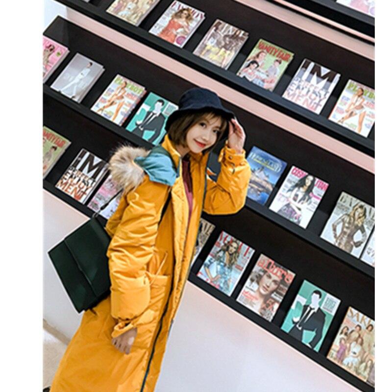 Femme Mode Épais Vestes Parkas Capuchon À Col Duvet D'hiver Femmes Grand Long De Chaud Yellow Pink Blanc Canard Manteaux Veste Fourrure Rembourré Lal52 ginger wqvPH0Z