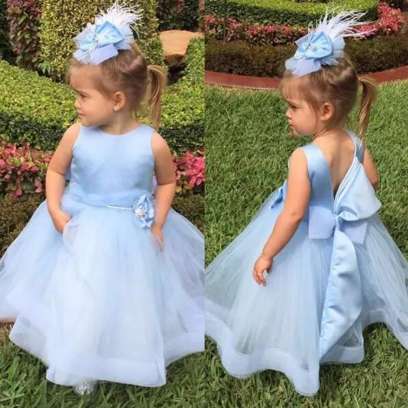 New Sky Blue Little Girls Birthday Gown with Big Bow Ball Gown Flower Girls Dresses for Wedding Custom Any Size