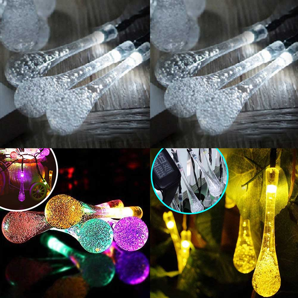6m 30LED Water Droplets Solar Fairy Lights Outdoor LED String Lights for Party Christmas Wedding Birthday Decoration New Fashion