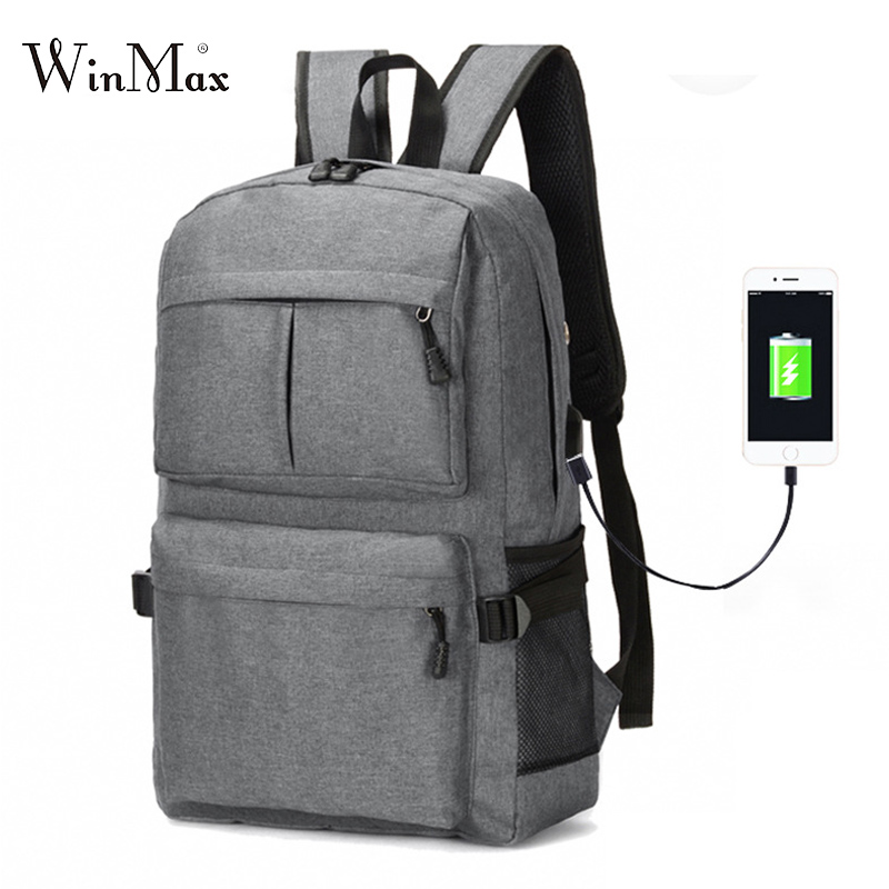 USB Backpack Book Bags for Teenager Boys Giles School Backpacks Casual Rucksack Daypack Unisex Design Canvas Laptop Bag Mochila