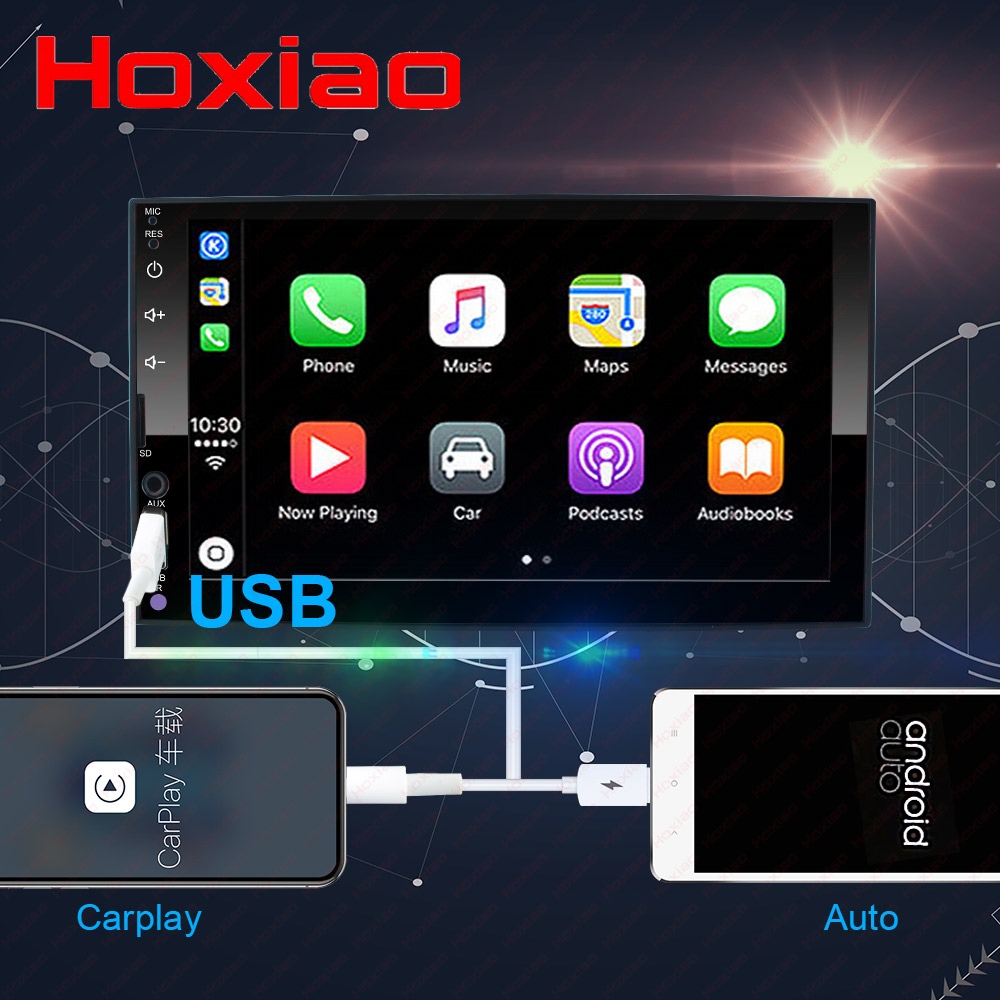 carplay 2 din car radio multimedia player Touch screen Android Auto audio stereo MP5 Bluetooth USB
