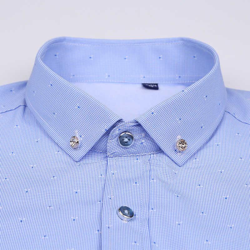 男性冬厚いソリッドカラーのドレスシャツ長袖社会メンズ暖かいシャツ 2018 はカジュアルなストライプのシャツの男性