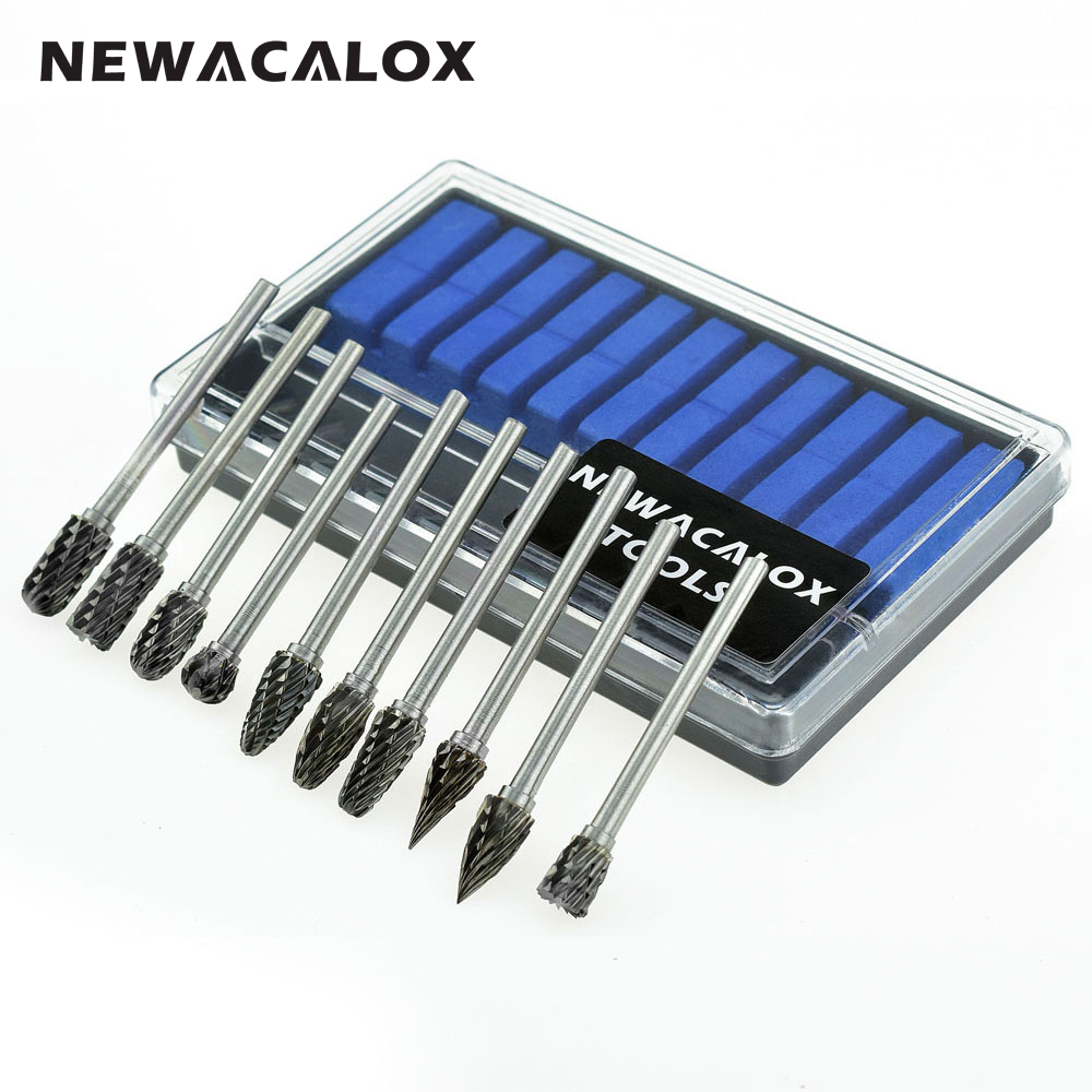 NEWACALOX 10pcs Dremel Carbide Burrs Drill Bit Set Rotary Burr Micro Drill Bits for Metal Woodworking Carving Tool Glass Diamond casual long sleeve scoop neck solid color t shirt for women