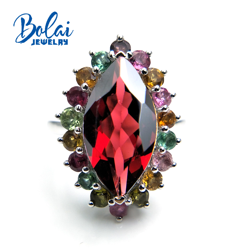 Bolaijewelry,Colorful shiny Luxury natural Gemstone ring garnet fancy color tourmaline Fine jewelry 925 sterling silver for ladyBolaijewelry,Colorful shiny Luxury natural Gemstone ring garnet fancy color tourmaline Fine jewelry 925 sterling silver for lady