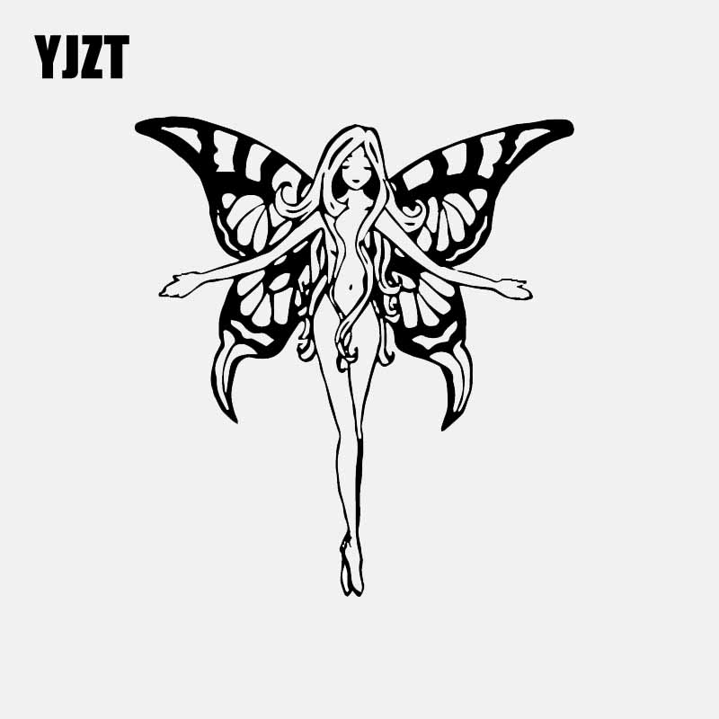 YJZT 13CM*14.2CM Decal Car Sticker Girl Butterfly Wings Flight Nude Sylph Elf Vinyl Decal Black/Silver C24-0322