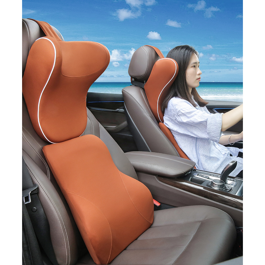 LOEN Car Lumbar Support Pillow and Car Headrest Neck Pillow Kit Car Memory Foam Health Care Lumbar Support Pillow Fit Major Cars loen 1set of leather memory foam car seat support cover lumbar back cushion office chair lumbar support headrest neck pillow