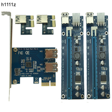 PCI-e to Dual USB 3.0 Riser Card PCI Express 1X to 2 16X Riser Card + USB 3.0 Extender Cable SATA 15 Pin-6Pin Power Cable