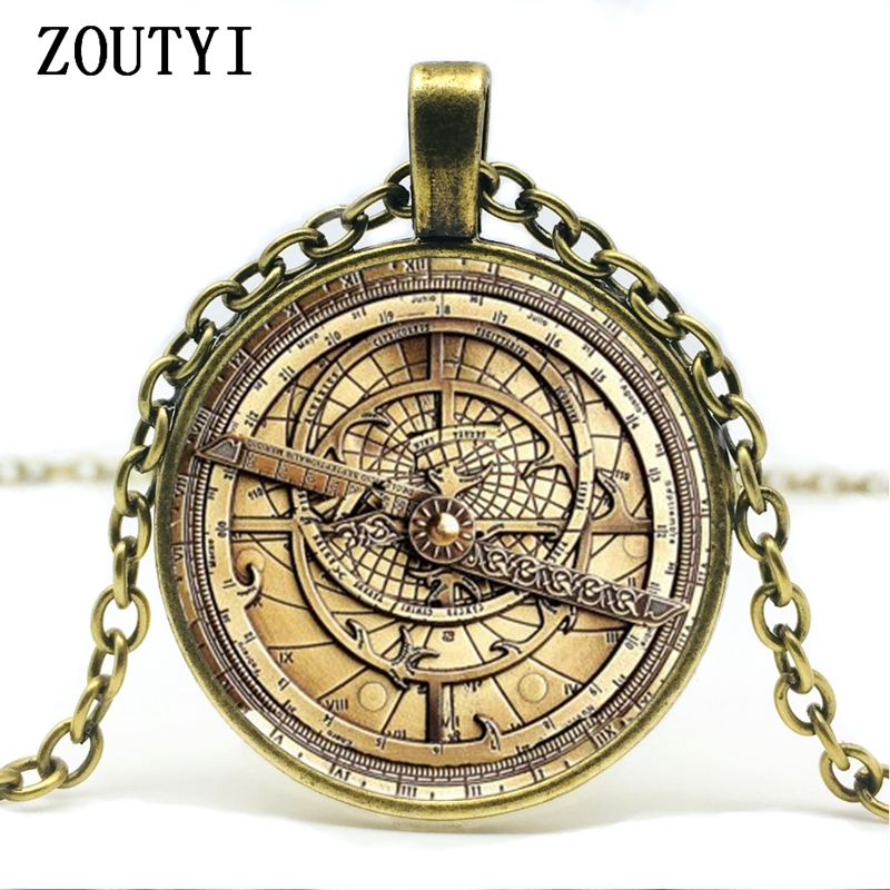 2018/ hot sale, steampunk gravity waterfall mystery Bill retro clock charm glass concave round pendant necklace jewelry