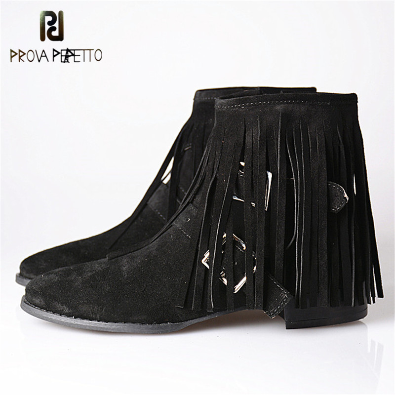 Prova Perfetto Whole Fringe Around Cow Suede Boots Women Solid Color Rivets Slip On Convenience High Heels Boots Warm For Female все цены