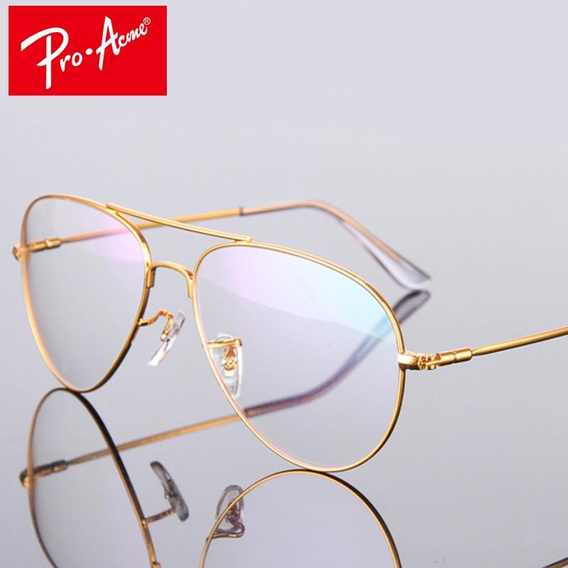 Pro Acme Fashion Titanium Aviation Gold Clear Lens Glasses ...