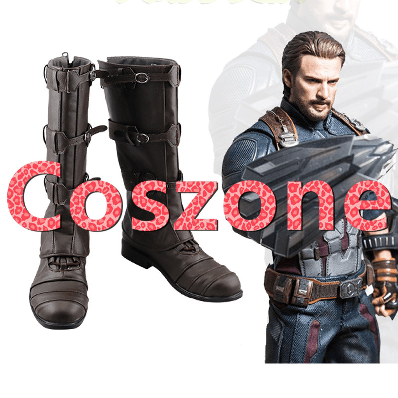 Avengers: Infinity War Captain America Cosplay Shoes Boots Halloween Cosplay Costume Accessories