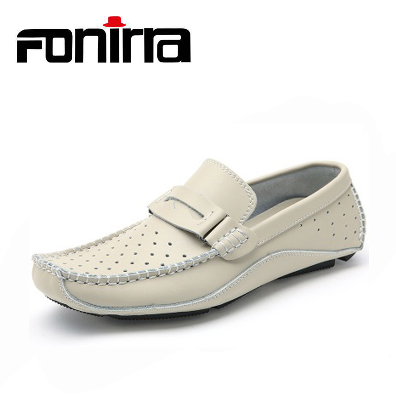 FONIRRA Summer Hollow Out Men Loafers Breathable Genuine Leather Sewing Men Casual Shoes Black Blue White Red Shoes 866