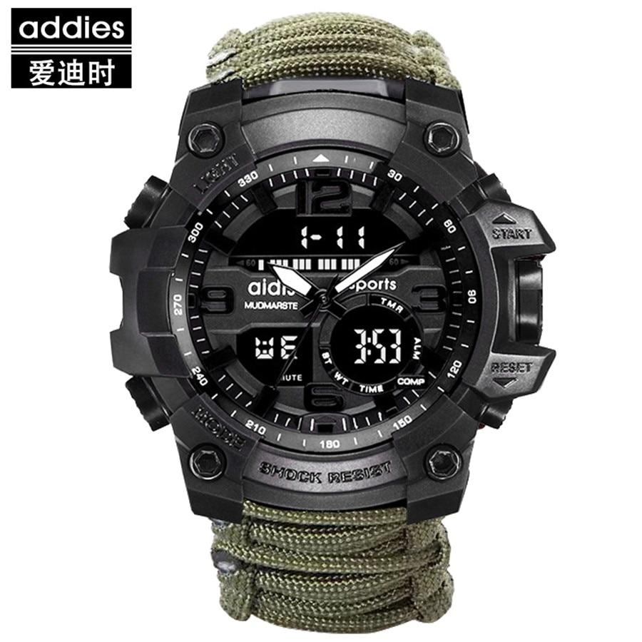 Compass Men Sports Watches Digital Quartz Watch LED Big Dial 30M Waterproof Dual Display Wristwatches Relogio Masculino