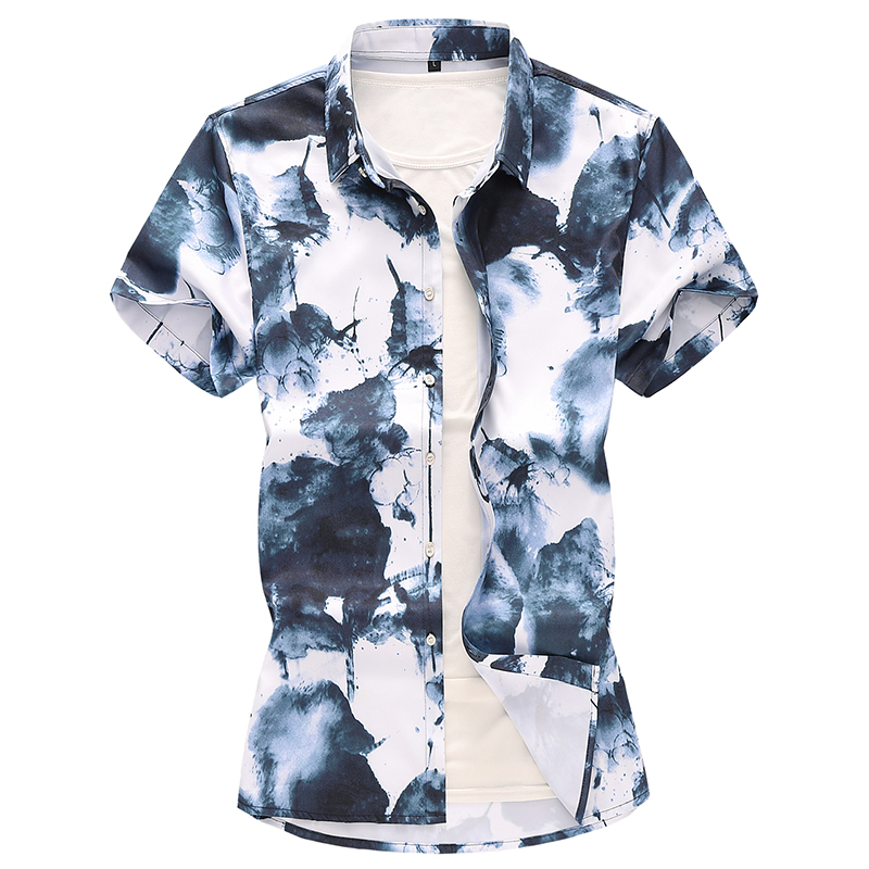 Men Summer Chinese style ink Short sleeve shirts male Hawaiian vacation Party floral printed casual shirt camisa masculina 7XL(China)
