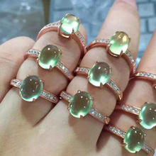 Ruifan Personalized Oval Natural Prehnite Rose Gold Color Real Silver 925 Rings Engagement Open Ring Birthday Gifts Women YRI099