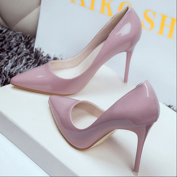 New 10cm nude color pointed high heels stiletto shallow mouth sexy black patent leather work shoes women's shoes Pumps