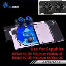 BYKSKI Full Cover Graphics Card Block use for Sapphire Nitro+ Radeon RX 580 / 590 8GD5 8GB GDDR5 (11265-01-20G) Copper Radiator