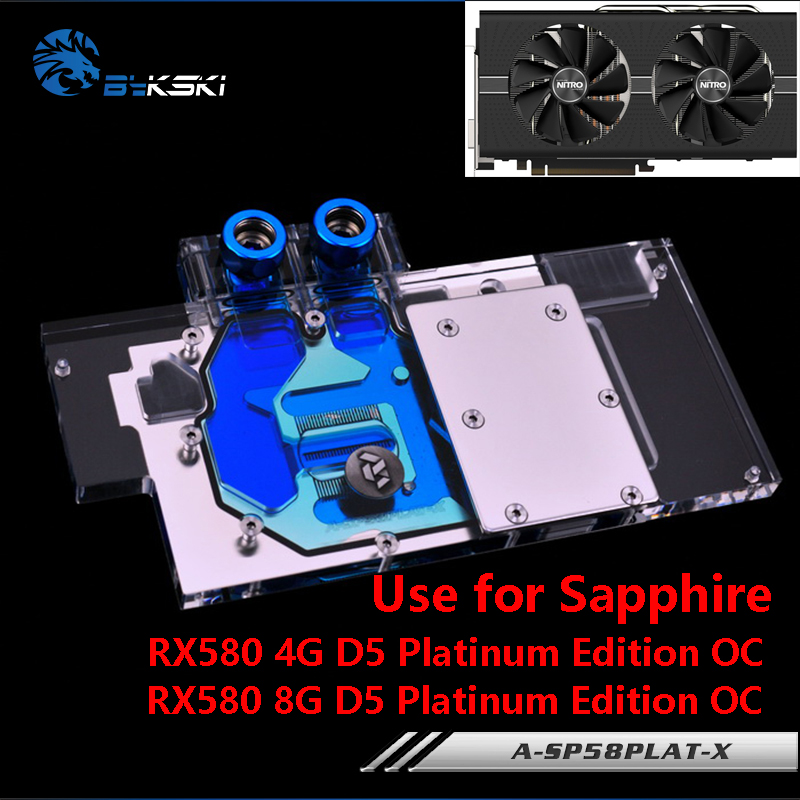 BYKSKI Full Cover Graphics Card Block use for Sapphire Nitro+ Radeon <font><b>RX</b></font> <font><b>580</b></font> / 590 8GD5 8GB <font><b>GDDR5</b></font> (11265-01-20G) Copper Radiator image
