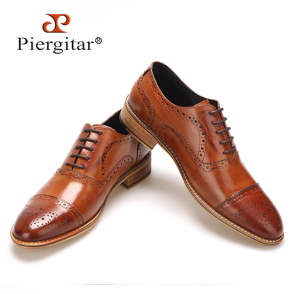 High Quality Men Oxfords Shoes British Style Carved Genuine Leather Shoe Brown Brogue Shoes Free Shipping