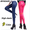 2016 New Fashion Womens Multicolor Matt Stretch PU Faux Leather Leggings Skinny Slim Thin Trousers Female Punk Rock Style Pants