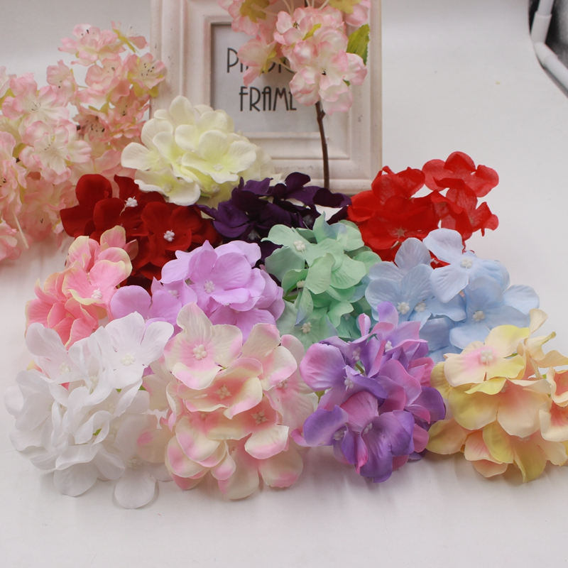 1pcs/lot 12pcs/combo silk hydrangea artificial flowers wedding car decoration head home gardening DIY flower wall