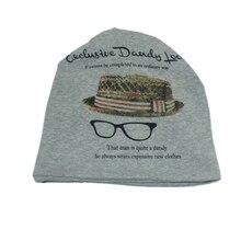 High Quality Women Korean Style Glasses Pattern Print Skull Caps Cotton Turban Multifunction Beanie Hats