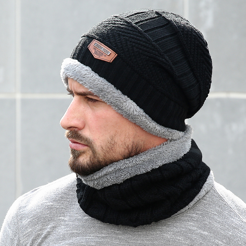 Winter Knitted Hats Scarves Men Winter Cap Beanie Thick Neck Warm Wool Bonnet Skullies Beanies For Men Women Knitted Hat