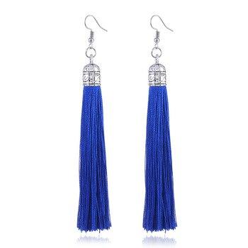 LZHLQ Brand Tassel Earrings Women Fashion Jewelry Bohemian Drop Dangle Long Earrings Silk Fabric Ethnic Vintage Earrings