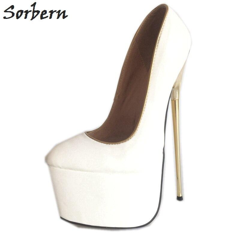 63abf35a98 Sorbern 22Cm White High Heels Women Shoes Pumps Thick Platforms Metal Gold  Thin Heel Slip-