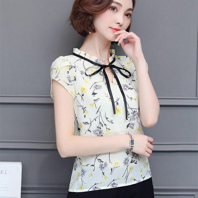 New 2018 Floral Chiffon Blouses Women Summer Tops And Shirts Bow Sweet Blouse Female Short Sleeve Clothing Feminina 0009 30 1