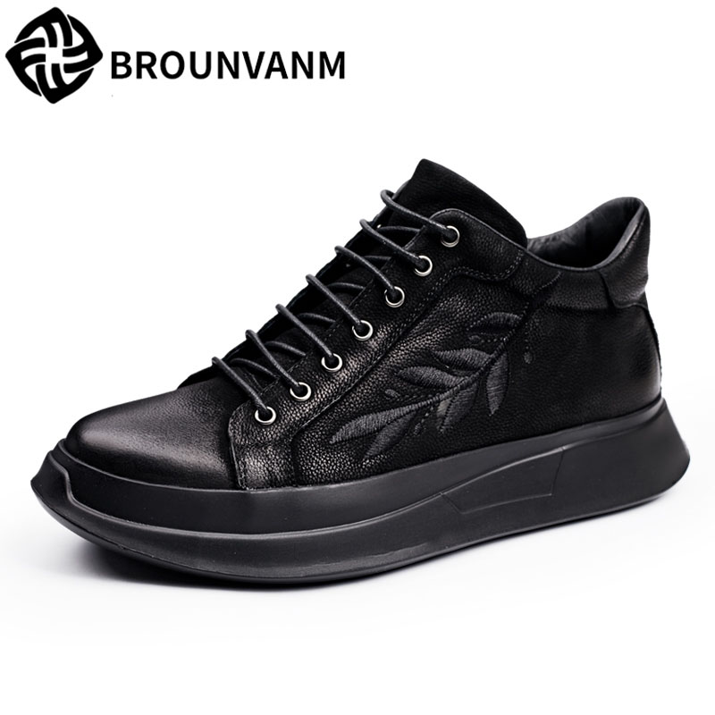 Men's shoes in autumn and winter high increased nubuck leather casual shoes men retro lace embroidery youth fashion shoes zenvbnv winter plush warm men casual high top shoes leather fashion lace up solid black red colors flat with youth casual shoes