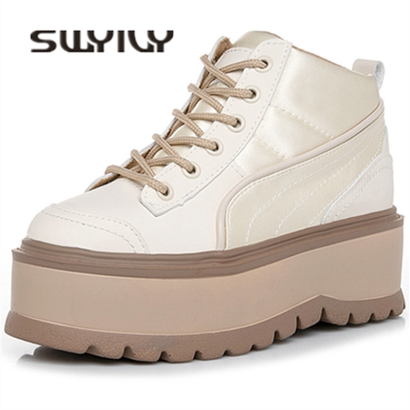 SWYIVY High Heel Shoes Sneakers Woman Platform 2019 Spring New Lady Wedge Casual Shoes Beige 34 Size Woman Satin Sneakers Chunky