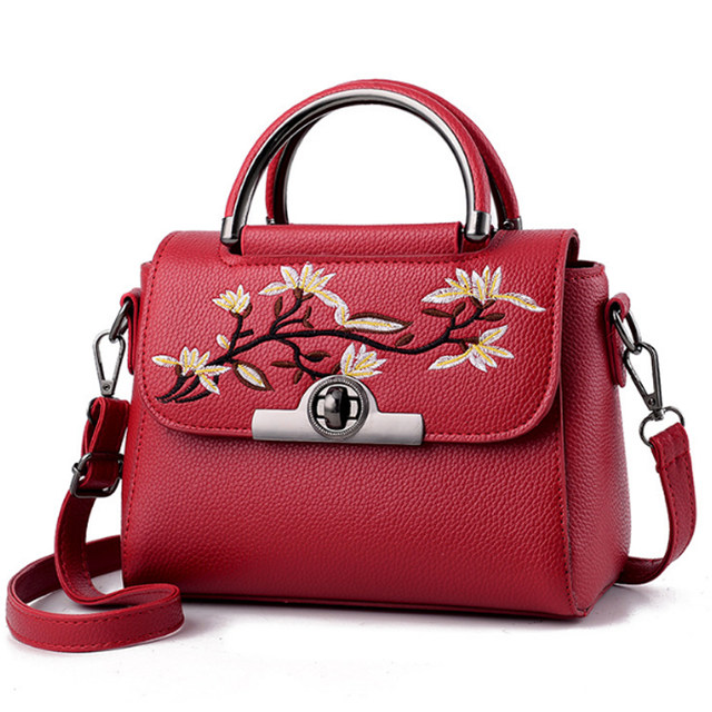 32b82dbd71 Online Shop Women Embroidery Tote Bag 2018 New PU Leather Women ...