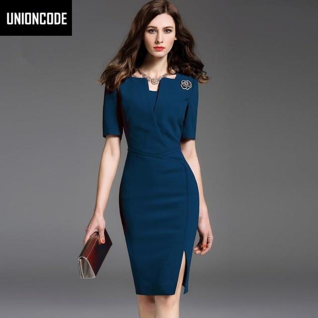 Autumn Office Dress Red Blue Knitting Dresses Short Sleeve Split V-neck Stretch Pencil Work Women Dress Full Size S-2XL