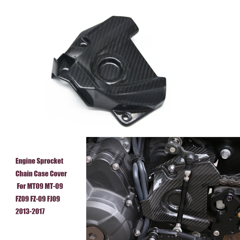 PrePreg Carbon Fiber (Dry Carbon) Engine Sprocket Chain Case Cover Guard for Yamaha MT-09 MT09 FZ09 FZ-09 2013-2017 2014 2015 sep motorcycle accessories carbon fiber engine sprocket chain case cover clutch cover for yamaha mt09 fz09 tracer fj09 2014 2017