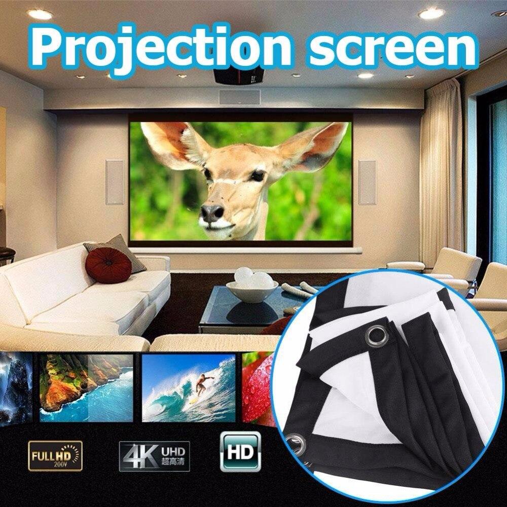 Amzdeal Portable Foldable 16:9 HD Display 120Inchs Projector Screen Fiber Canvas Curtain Home Cinema Outdoor Courtyard