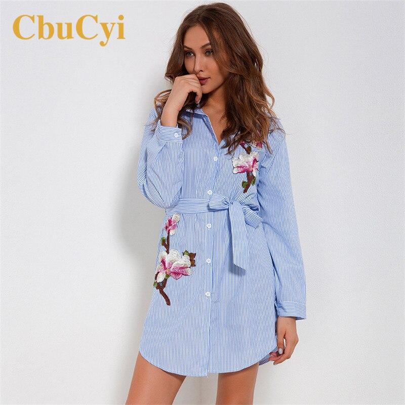 Primavera vestidos de bordado de manga longa listrado bordado blusa vestido feminino sexy praia vestidos de festa ropa bordada de mujer