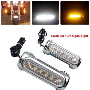 Image 1 - אופנוע התרסקות ברים LED כביש בר Switchback נהיגה אור/הפעל אות אור עבור הארלי אופני סיור נצחון שחור/כרום