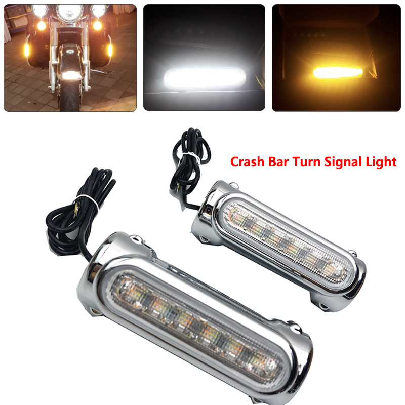 Motorcycle Crash Bars LED Highway Bar Switchback Driving Light turn signal light For Harley bike Touring Victory Black Chrome