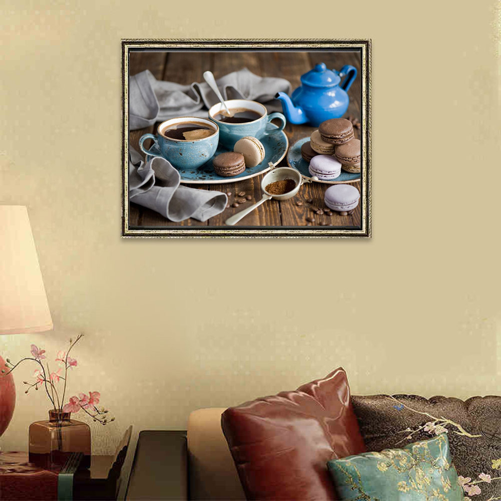 Drawing On Canvas Frameless Oil Painting By Numbers Coffee Cake ...