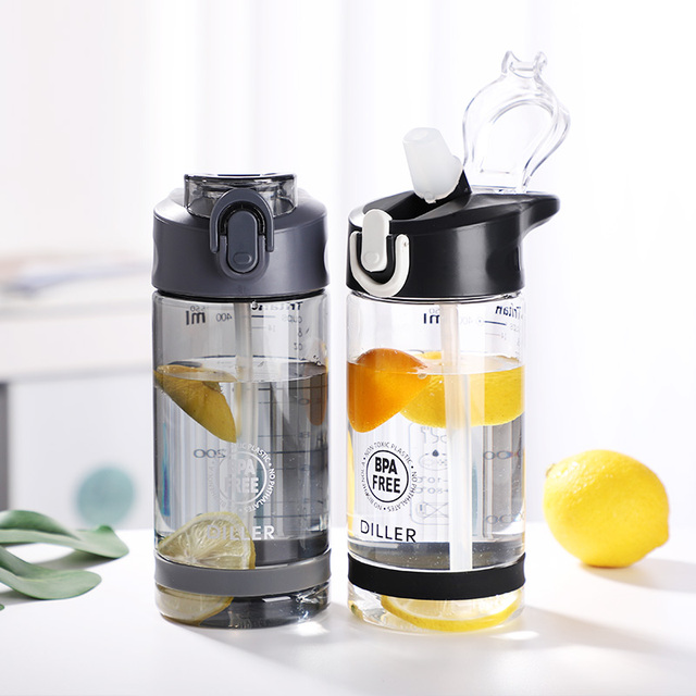 Plastic Sport Water Bottle With Straw Leakproof Water Bottle Portable Scrub Space Cup Tritan BPA Free 6