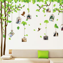 90*120CM Large Green Family Tree Photo Frame Wall Sticker DIY Fresh Pendant Picture Frame Sticking Poster Removable Stickers(China)