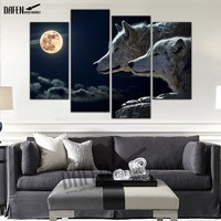 4 Panel Wall Art Pictures Wolf Tiger Painting Animal Print On Canvas Home Decoration Framed Ready