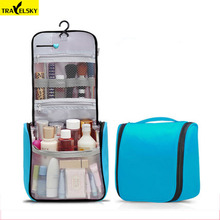 Travelsky Brand Upgrade Women Large Travel Makeup Bag Woman Toilet Hanging Bags Cosmetic Make Up Kit Bag Waterproof  Wholesale