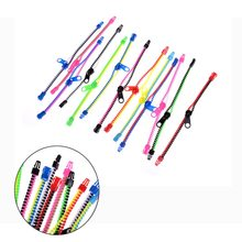 10pcs/lot Stress Relief 0.6 * 19 cm Zip Bracelet Wristband Dual & Single Color Metal Zipper Fluorescent Neon Focus Toys(China)