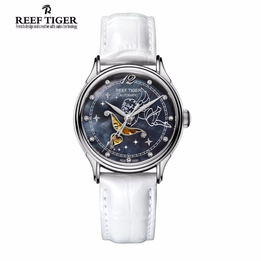 New Reef Tiger/RT Fashion Womens Watches Blue Dial Stainless Steel Watches for Lover Diamonds Ladies Watches RGA1550 reef tiger designer fashion diamonds automatic watch with white mop dial steel watches for women rga1550