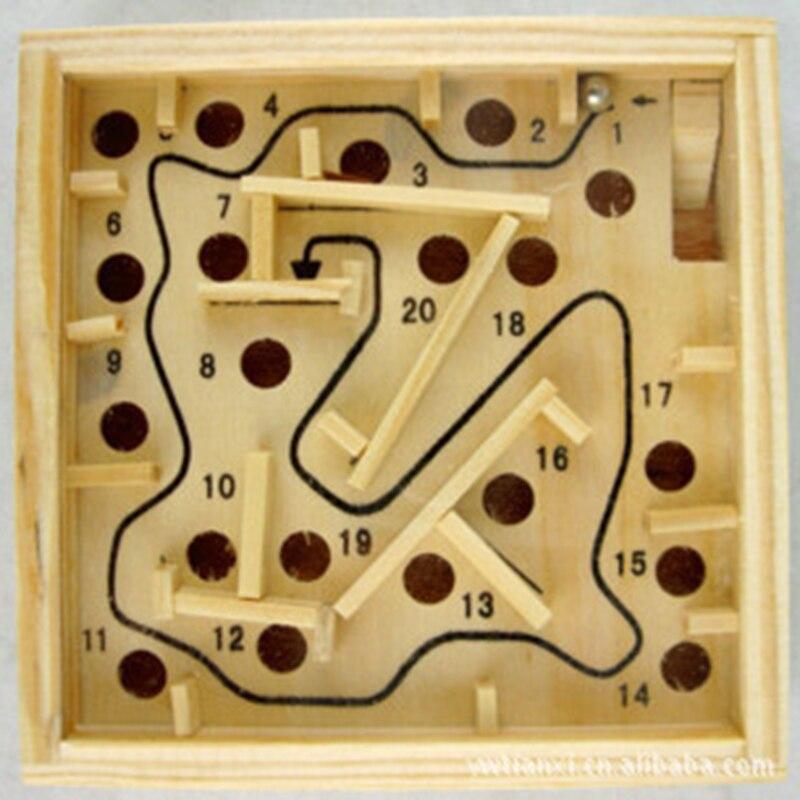 mini juego de mesa de madera laberinto bola de laberinto juguetes hechos a mano
