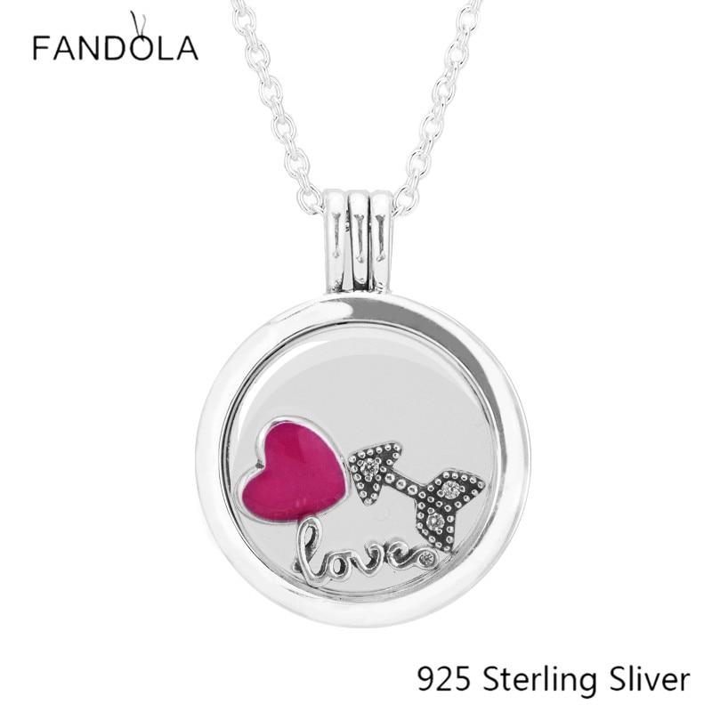 Medium 925 Silver Floating Locket Magenta Heart & Arrow & Love Script Petite Pendant Necklace For Fine Jewelry Full of Love Gift dgk script medium silver tie dye short sleeve page 1