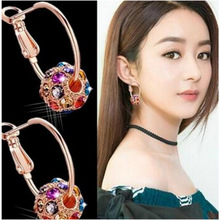 Korean Crystal Ball Earrings Color Lucky Transfer Beads Ear Jewelry
